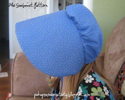 """Pickup Some Creativity: Pioneer Sunbonnet Tutorial Made this for granddaughter's Pioneer Day. Very simple, clear instructions with photo tutorial and pattern to print. I altered the pattern to add 1"""" to brim width and 1"""" to square width so that it would fit a 4th grader's head."""