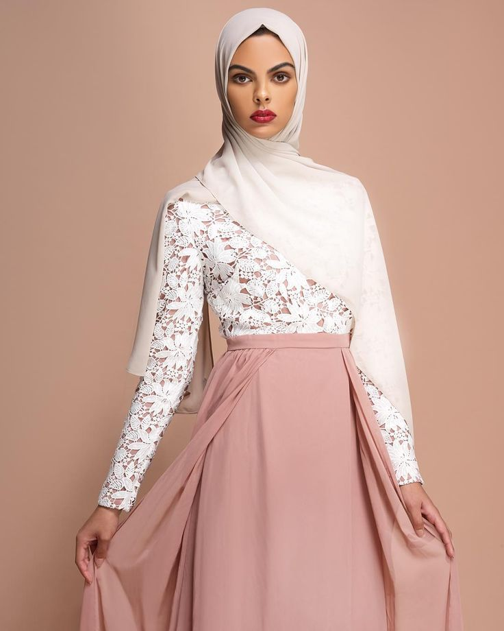 Contrasting layers create a defined evening gown. Sphinx Layered Gown with Lace  Light Cream Soft Crepe Hijab www.inayah.co