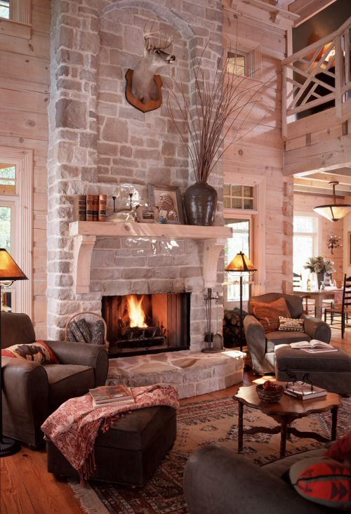 The great room fireplace backs up to the porch fireplace so they share a chimney. Take a look at the elongated craftsman brackets supporting the mantle. www.modernrustichomes.com