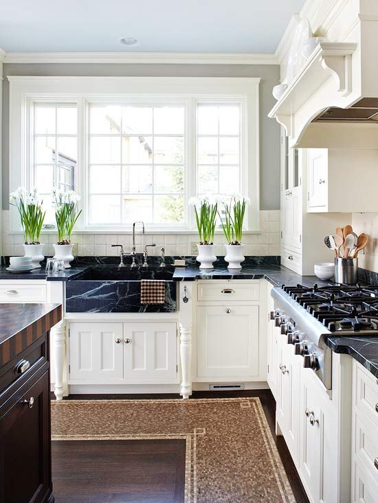 kitchens - gray walls off-white kitchen cabinets soapstone countertops farmhouse soapstone sink  Gorgeous kitchen with creamy white kitchen cabinets