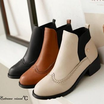 Fashion Vintage Chelsea Ankle Boots Low-Heeled Elastic Martin Boots For Women Female Thick Heel Plus Size Boots Shoes Woman