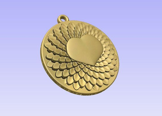 Stl 3d models of ROUND HEART PENDANT for cnc by Digital2Cre8