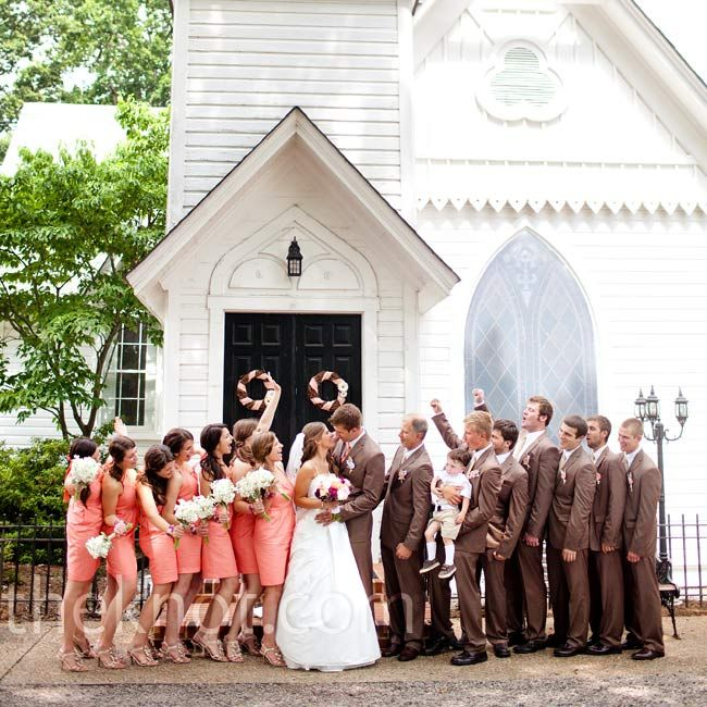 Coral Bridesmaid Dresses... the baby's face is priceless!!!