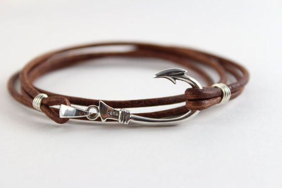 Soft, natural golden brown leather cord and sterling silver wire wrapped bracelet is secured with a .925 sterling silver fish hook that measures 1.5