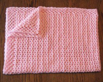 Hecho a mano bebé ganchillo rosa Pastel manta afgana