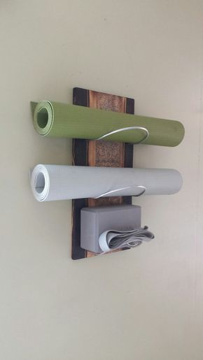 3 Tier Yoga mat Holders – Wall mounted (24″) Reinforced steel rod holes for heavier yoga mats. yoga gifts