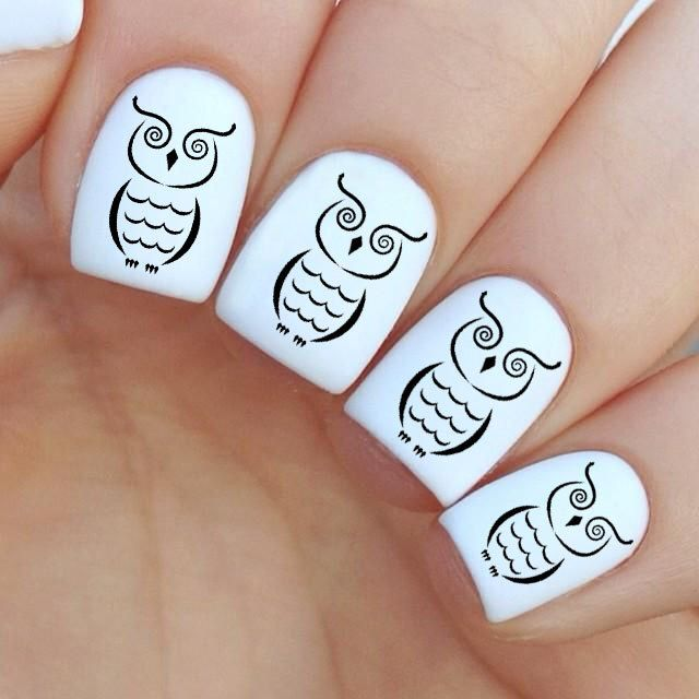 Owl Nail Decal by MilieNailsCreation on Etsy https://www.etsy.com/listing/226157483/owl-nail-decal
