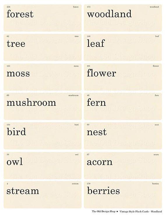 Vintage Style Flashcards Woodland Words Printable Digital Etsy Flashcards Vintage Words Vintage