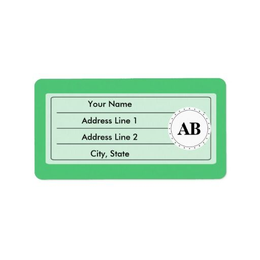 Emerald green solid color with monogram custom address labels