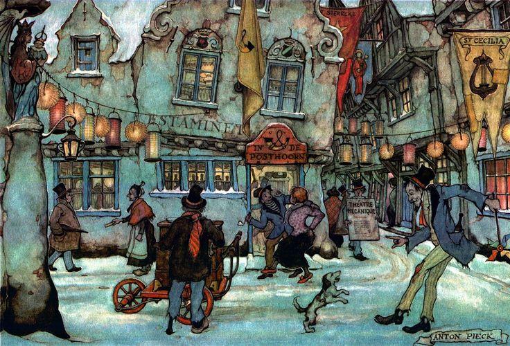 Town Drunk - Anton Pieck, Dutch painter, artist and graphic artist.