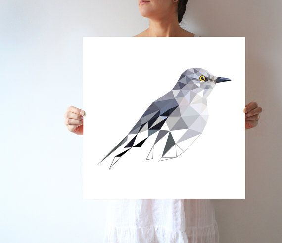 L68 - Northern Mockingbird Digital Wall Art inspired - BIG SIZE.  Choose from listing variations  **** PRINTS does not include frames ****  All