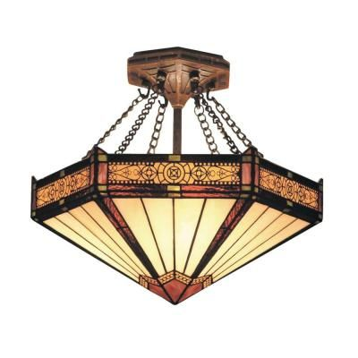 Titan Lighting Filigree 3-Light Aged Bronze Ceiling Semi Flush Mount-TN-10005 - The Home Depot