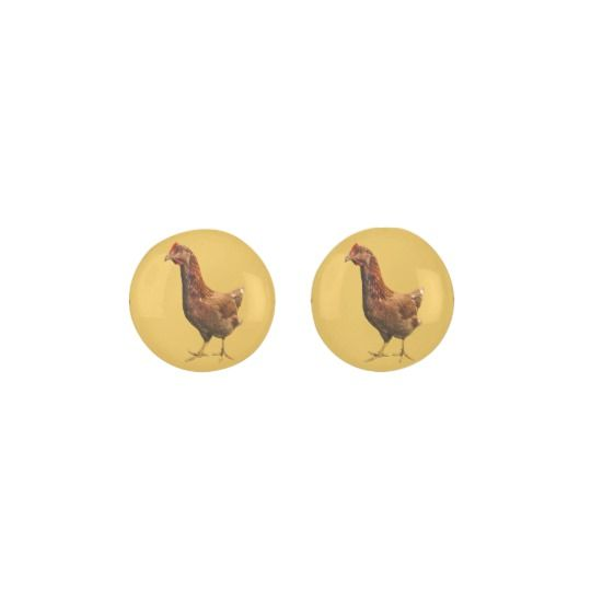 Rhode Island Red Hen Chicken Stud Earrings