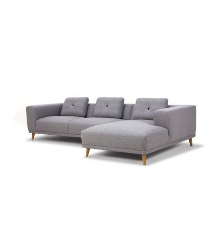 Gilbert, 3-seater sofa w/ chaiselong right, Andie light grey