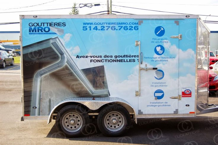 Trailer wrap designed, printed and installed for Gouttières MRO (a branch of Services MRO)