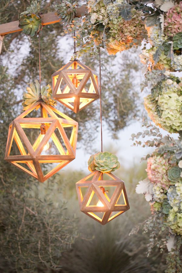Geometric Shaped Wooden Light Frames - Top 30 Wedding Hanging Decorations