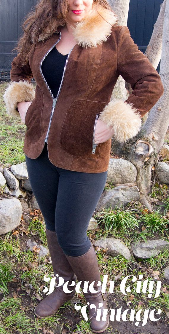 Brown Suede Boho Jacket Faux Fur Collar by PeachCityVintage
