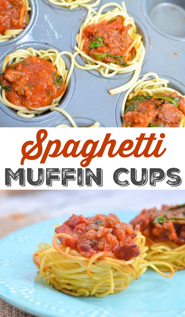 Super Easy Spaghetti Muffin Cups Recipe - Spaghetti and Meat Sauce Baked in a Muffin Tin for Individual Dinner or Appetizer Servings