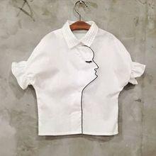Белая рубашка для девушки летние блузки 2015 корейских детей одежда из органзы с отложным воротником киз cocuk giyim лицо модели 2-6years(China (Mainland))