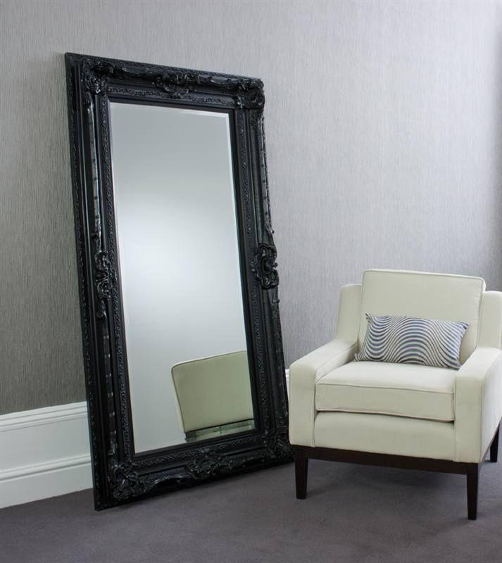 Black floor mirror valois black mirror floor standing for Big floor mirror