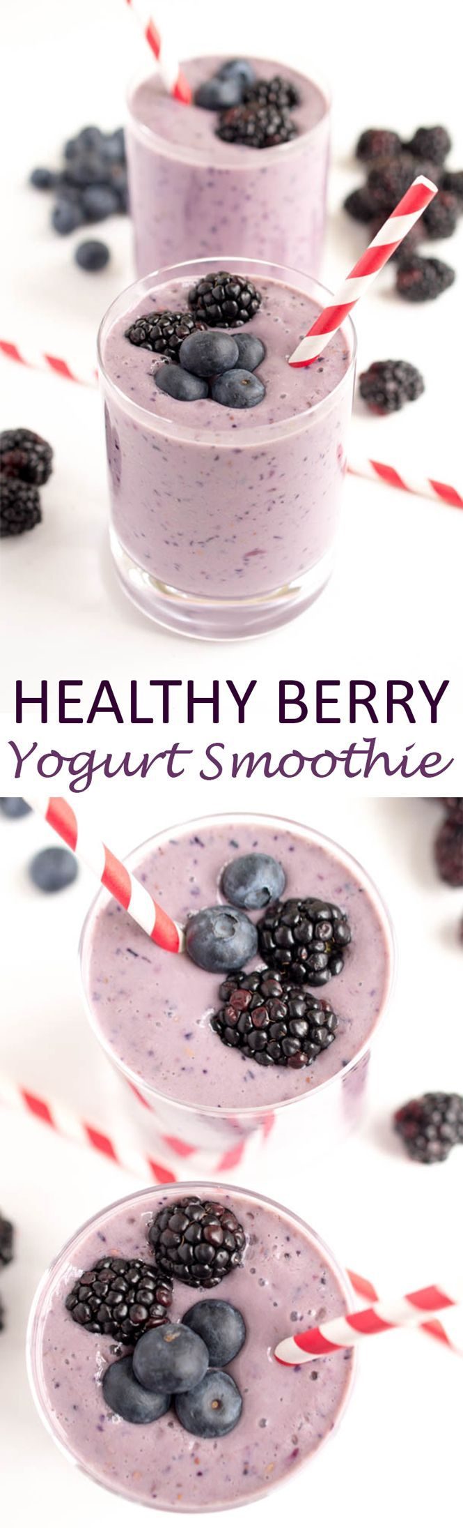 A super simple 5 ingredient Healthy Berry Yogurt Smoothie. Protein packed to keep you full throughout the day. A perfect on the go breakfast! | chefsavvy.com #recipe #breakfast #smoothie #fruit