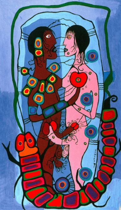 "The phallus found its way into Morrisseau's erotic works as a powerful symbol of masculinity and fertility. ""Indian Erotic Fantasy,"" n.d., private collection. #ArtCanInstitute"