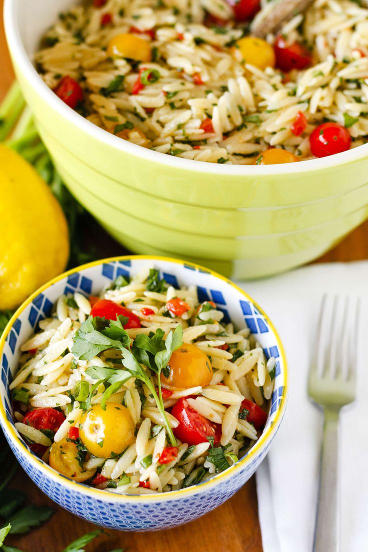 This healthy orzo salad recipe is packed FULL of bright, fresh, summery flavor... It's the perfect side dish to share at your next gathering!