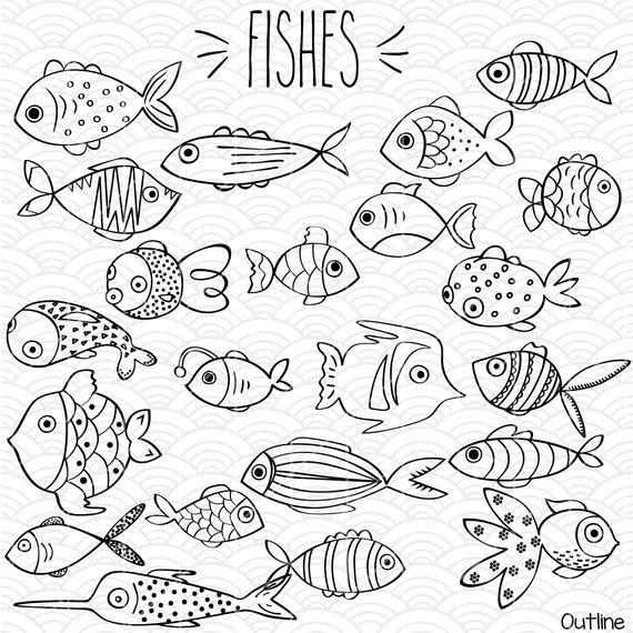 Hand Drawn Fish Clip Art Tropical Fish Outline Illustration Etsy Fish Outline Drawn Fish Fish Drawings