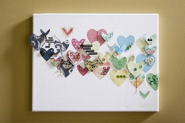 hearts on canvas-use paper punch and painted papers