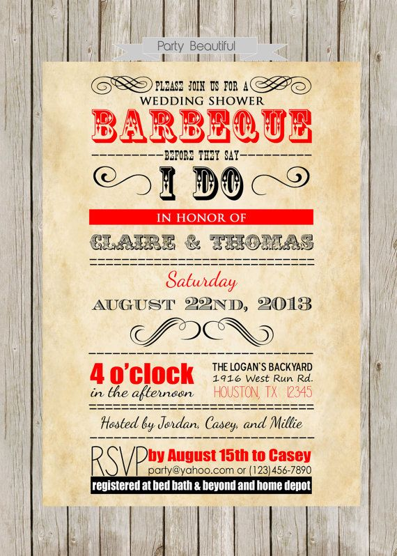 Couples or Coed Barbeque Wedding Shower by PartyBeautiful on Etsy, $17.00