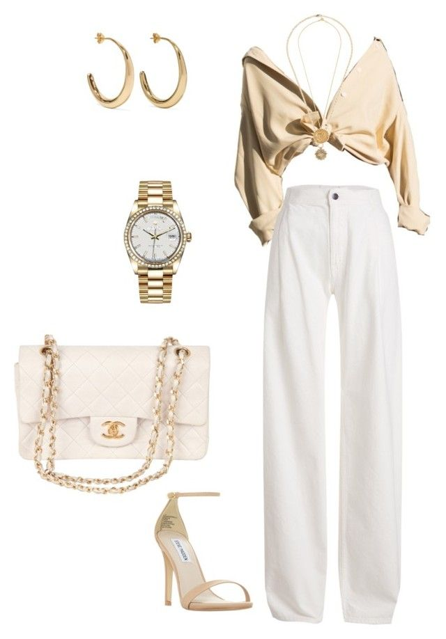 """""""chic night out"""" by jsmalves on Polyvore featuring Maison Margiela, Chanel, Dinosaur Designs, Foundrae, Alighieri, Rolex and Steve Madden"""
