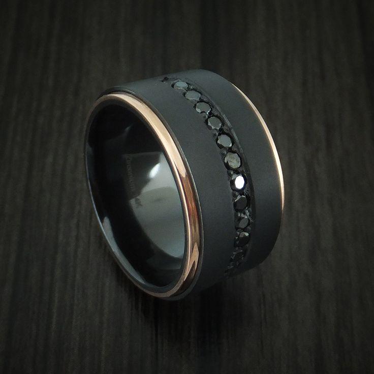 Black Zirconium and 14K Rose Gold Band with Black Diamonds Custom Made Ring