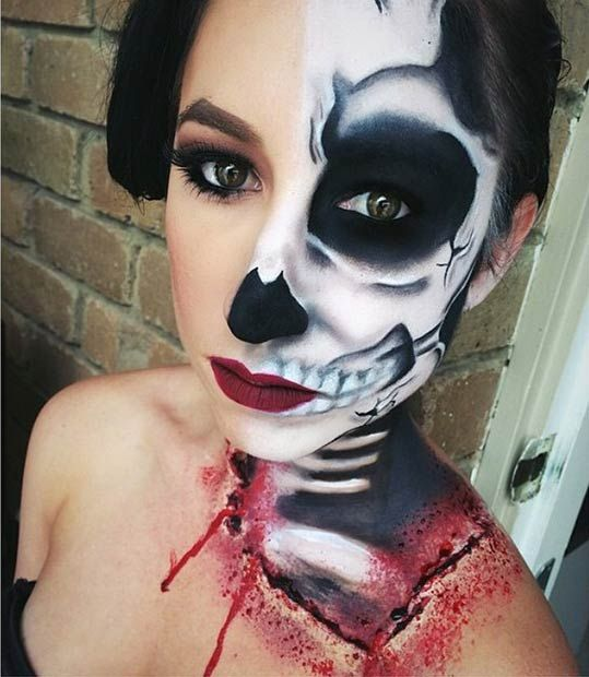 Want a spooky Halloween makeup look with a touch of glam? Give this scary look a try! For the outfit, you will need a black off shoulder dress, black heels or booties and a black leather jacket.