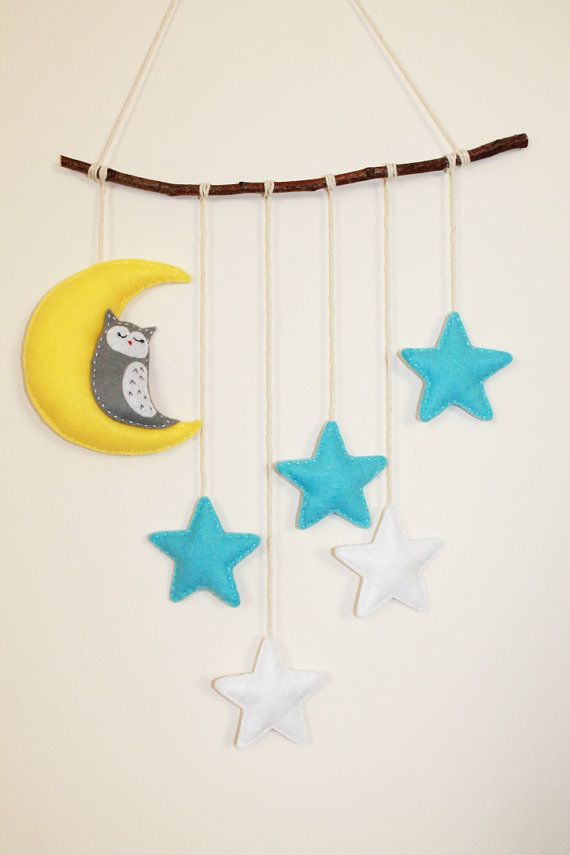 Cute stars and moon mobile. Stars moon and owl by TinyHappyBee