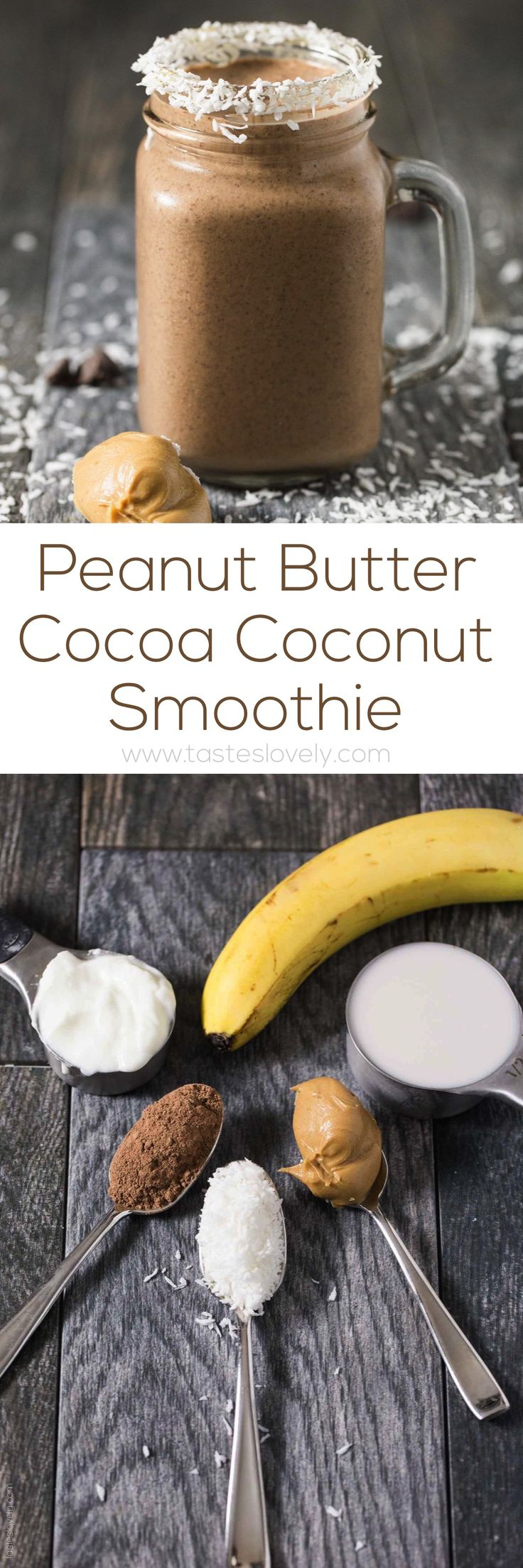 This Peanut Butter Cocoa Coconut Smoothie recipe will make your day! It makes a healthy breakfast or a tasty snack.
