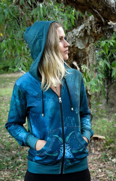 AQUA ORCHID PORTAL Women's Hoodie by CrystalotusCreations on Etsy