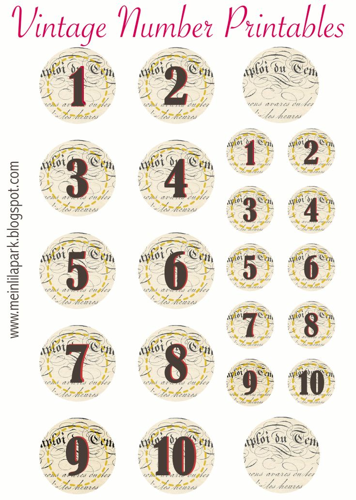 Free printable vintage number stickers - ausdruckbare Zahlen - freebie | MeinLilaPark – digital freebies
