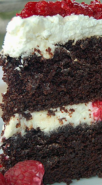 Wicked Chocolate Cake with White Chocolate Raspberry Mousse