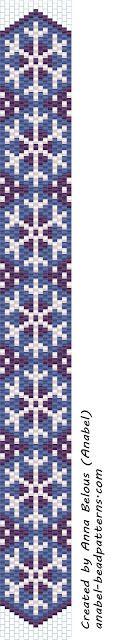 - Схемы для бисероплетения / Free bead patterns -: Схема узкого браслета со снежинками / Snowflake peyote pattern
