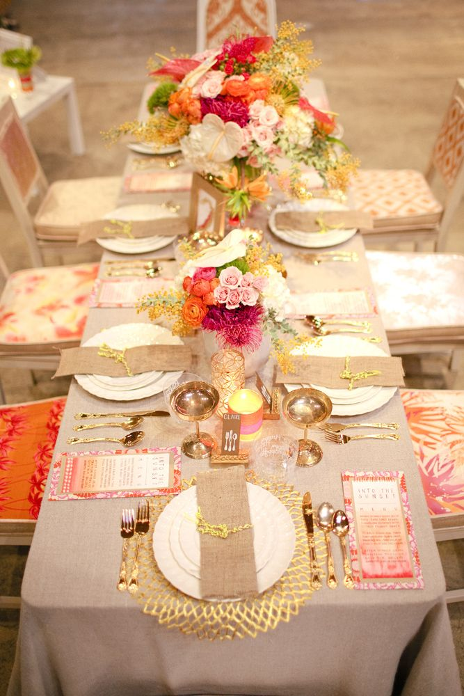 The Bridal Dish adores gold, neon, tropical table setting, all different chair fabrics