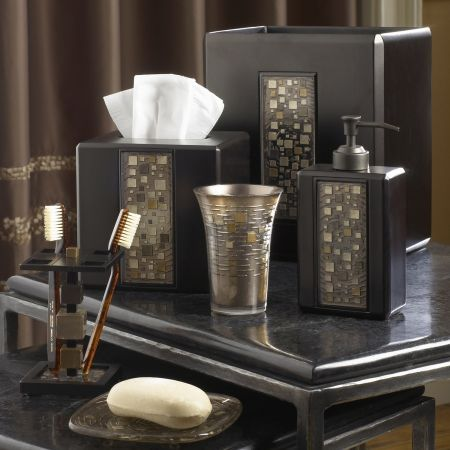 Croscill mosaic bath collection these pieces are for Gold mosaic bathroom accessories
