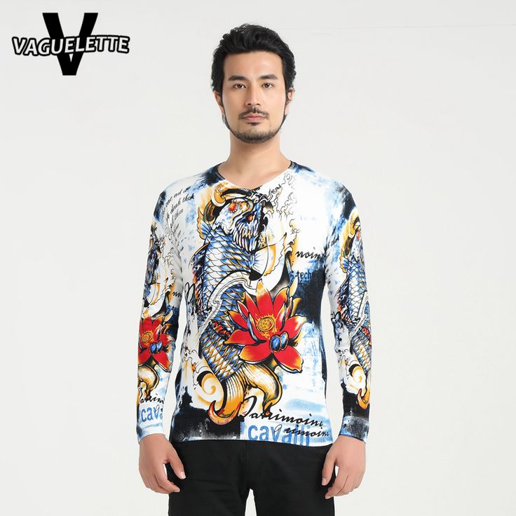 Casual V Neck Pull Homme Printed Fish Floral Chinese Stylish Men Clothes Novelty Knitted Oversized Men Jumper Sweater M-4XL