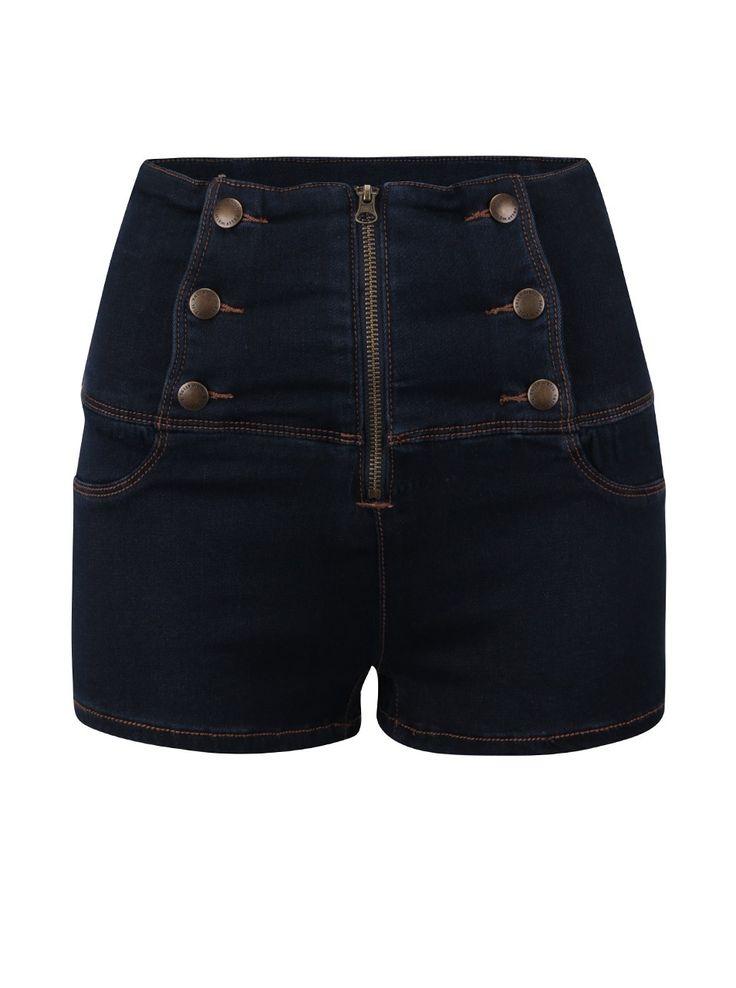 Pantaloni scurți bleumarin din denim TALLY WEiJL cu talie înaltă - Tally Weijl