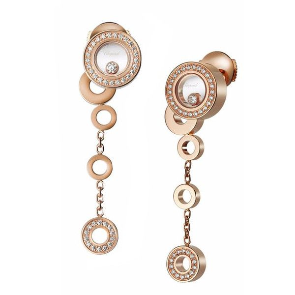 Chopard Happy Bubbles Rose Gold Diamond Circle Dangle Earrings ($7,060) ❤ liked on Polyvore featuring jewelry, earrings, rose gold dangle earrings, rose gold earrings, rose gold pendant, circle earrings and dangle diamond earrings