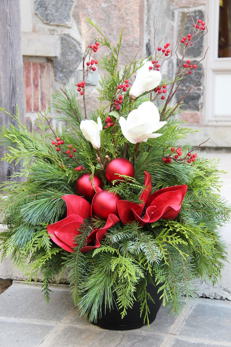 Christmas decorations for outside planters halloween for Outdoor planter ideas