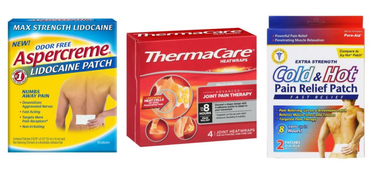 aspercreme, thermacare and cold & hot pain relief patches