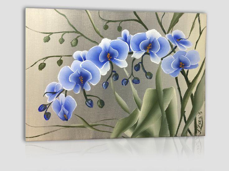 acrilico su cartoncino telato 24x18 cm - orchidea blu su sfondo chiaro