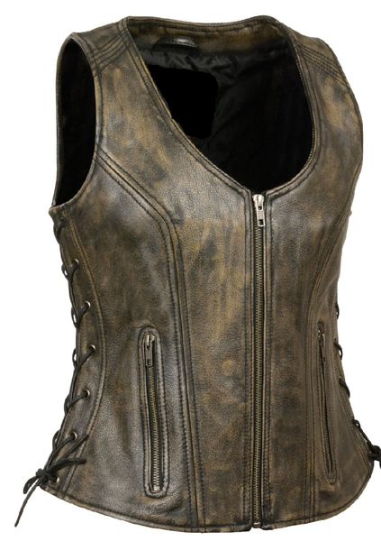Womens Side Lace Dunloop Motorcycle Vest with Stitch Detailing CCW