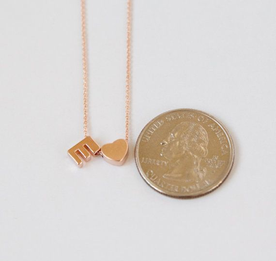 Rose Gold Initial Necklace Rose Gold Necklace Initial Rose