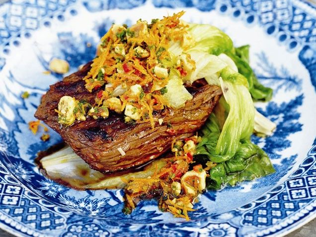 Skirt Steak with Hazelnut Picada and Wilted Escarole -A savory mixture ...